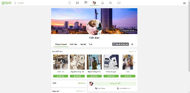 Giao diện trang Profile mạng xã hội Gapo.vn