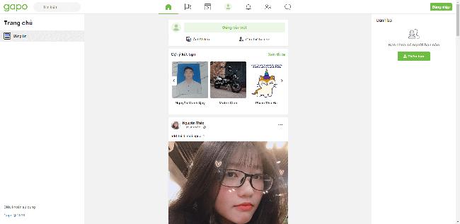 Giao diện trang chủ MXH Gapo.vn